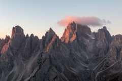First rays of sun on the Cadini mountain group