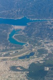 Dam at Pournariou reservoir with town of Arta