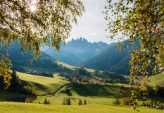 Sunset in the Val di Funes, Dolomites, Italy
