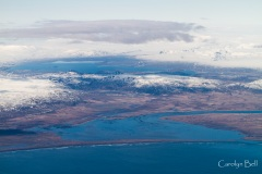 The Olfusa delta with Thingvalla vatn behind, Iceland