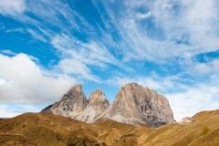 Passo Sella with Sassolungo group of mountains