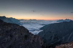 Pre-sunrise view from near the Refugio Auronzo