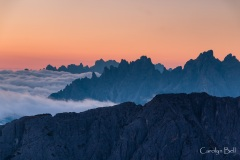 Pre-sunrise view from near the Refugio Auronzo - detail of mountains