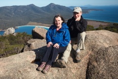 Carolyn and Mike on top of Mount Amos, Tasmania