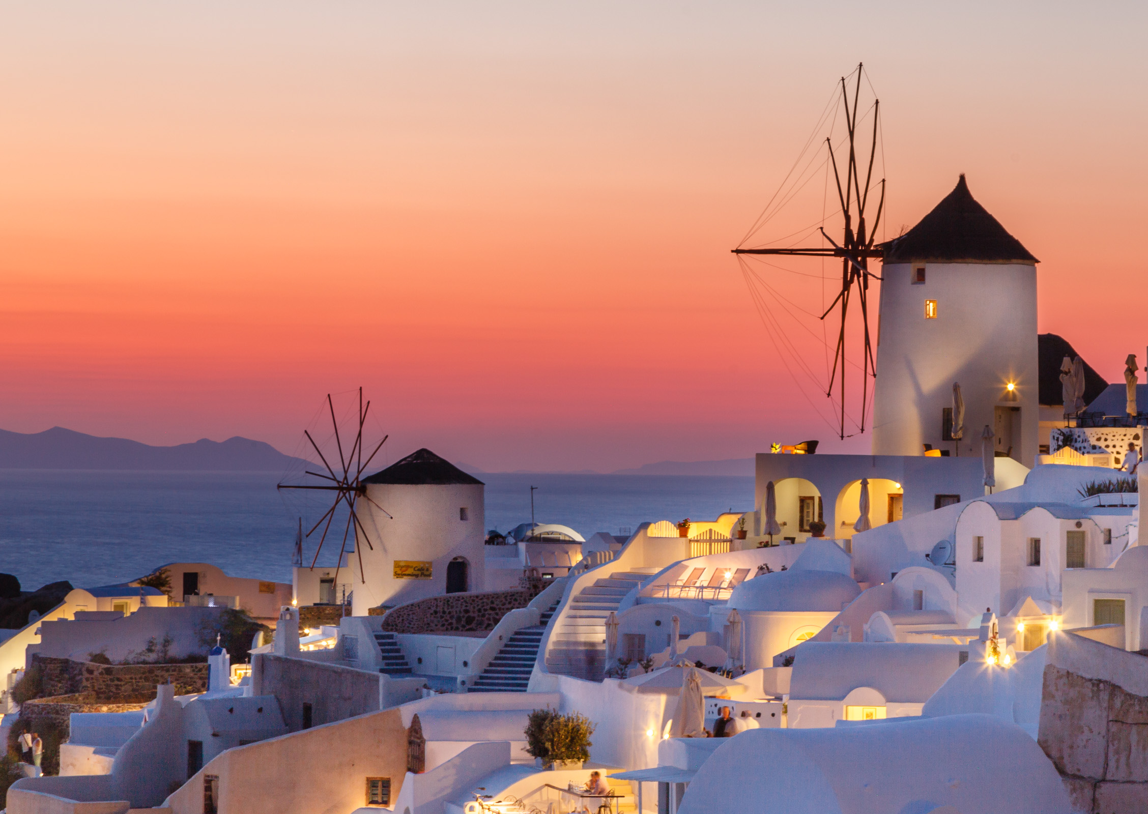 Windmills at dusk, Santorini, Greece