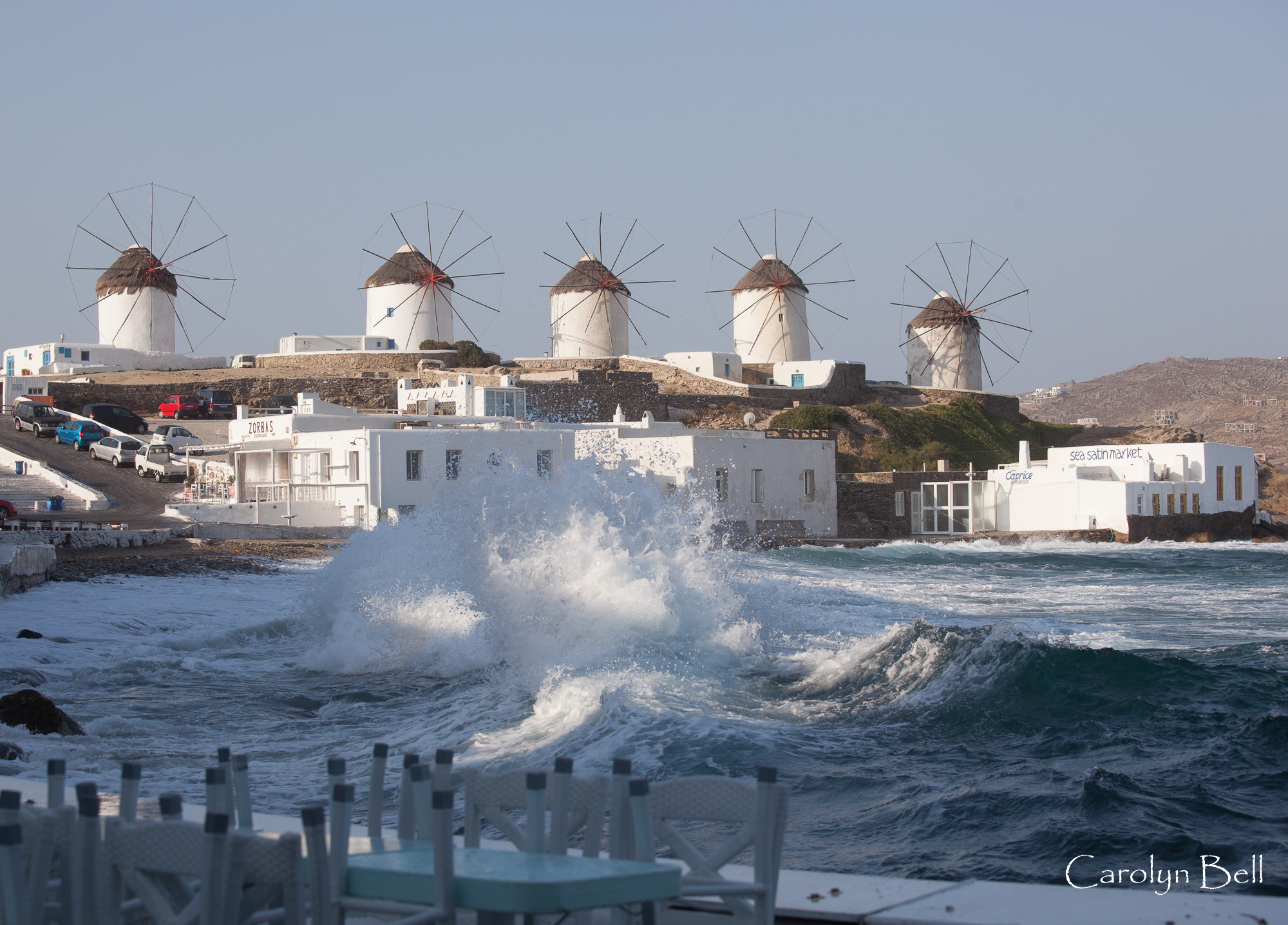 Stormy sea in Mykonos, Greece