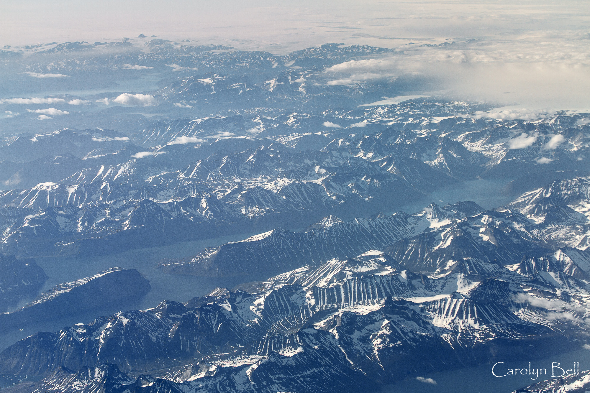 Mountains and fjords in south east Greenland