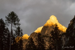 Last light above Lake Braies, Dolomites, Italy