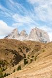 The Sassolungo mountains above Passo Sella
