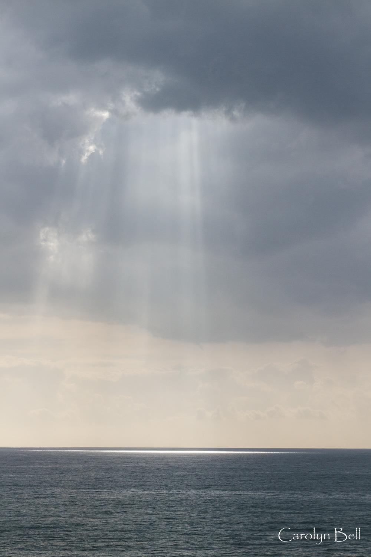 Spotlight on the sea near Camara de Lobos
