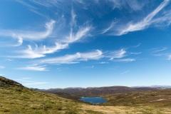 Cirrus clouds above Loch Vrotachan, Glenshee Ski Area